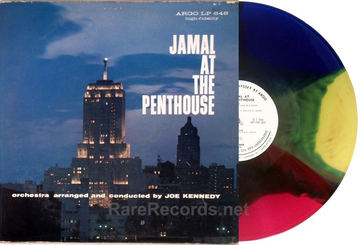 Ahmad Jamal - Jamal at the Penthouse (Argo; 1959) rare white label promo copy of this great jazz album, pressed on multicolored vinyl - red, green, blue, yellow, and orange. #records #vinyl #albums #LP   Click here to learn more about this record: http://www.rarerecords.net/store/ahmad-jamal-jamal-at-the-penthouse-1959-argo-multicolor-vinyl-promo-lp/