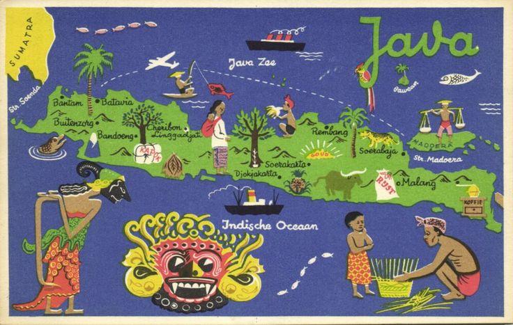 indonesia, JAVA, Wayang Wajang, Mask, MAP Postcard (1940s)   eBay