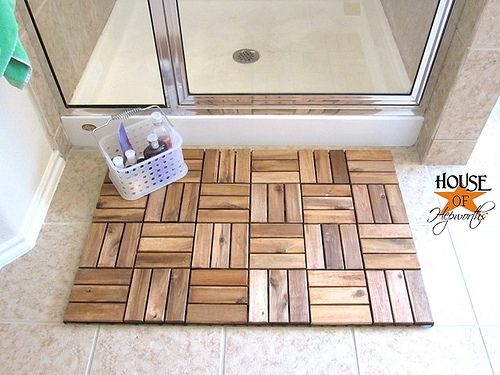 IKEA outdoor decking turned Spa Bathmat...she is Brilliant! :)  I love this idea!  Plus it would match just about any decor!