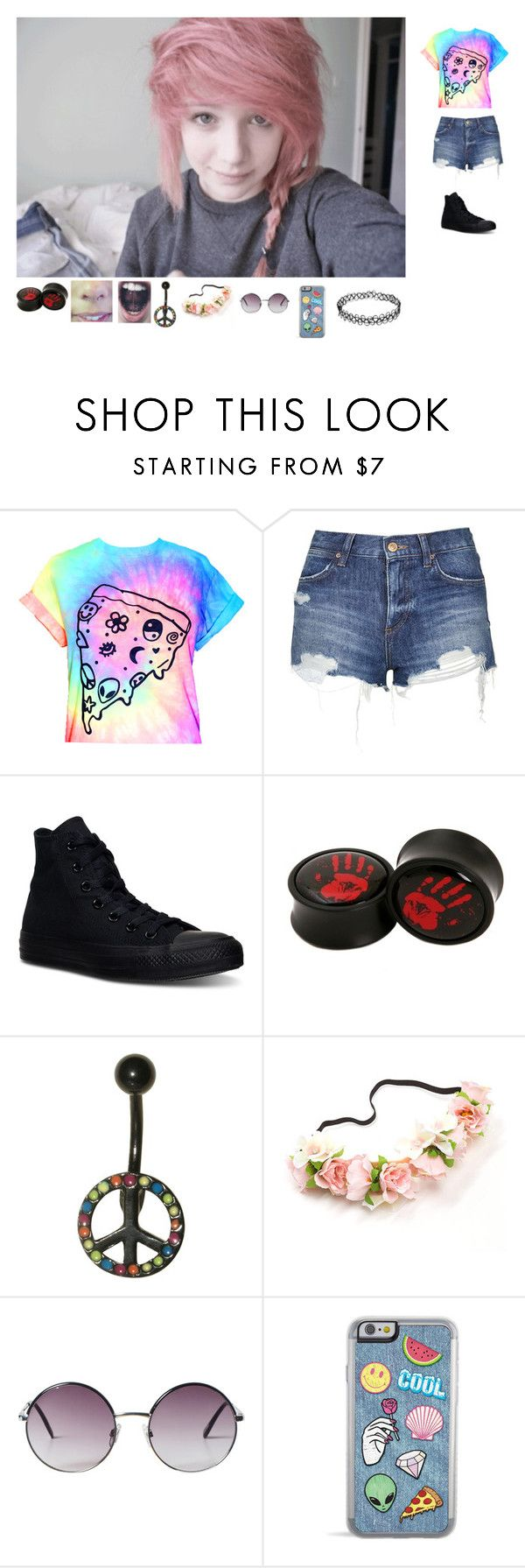 """""""Warped Outfit #1"""" by mrsbiersack-857 ❤ liked on Polyvore featuring Topshop, Converse and Monki"""