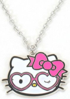 """Hello Kitty Heart glasses silver metal enamel filled pendant necklace on a 20"""" inch chain. Lead and nickel free."""