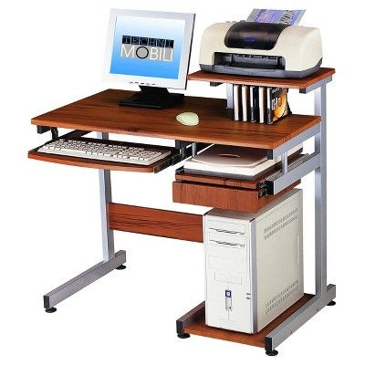 Complete Computer Workstation Desk - Woodgrain - Techni Mobili, Wood