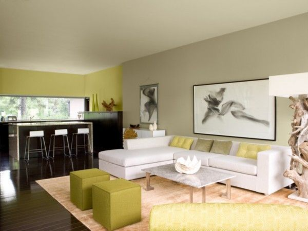 Green grey living room paint color home ideas pinterest for Green grey living room ideas