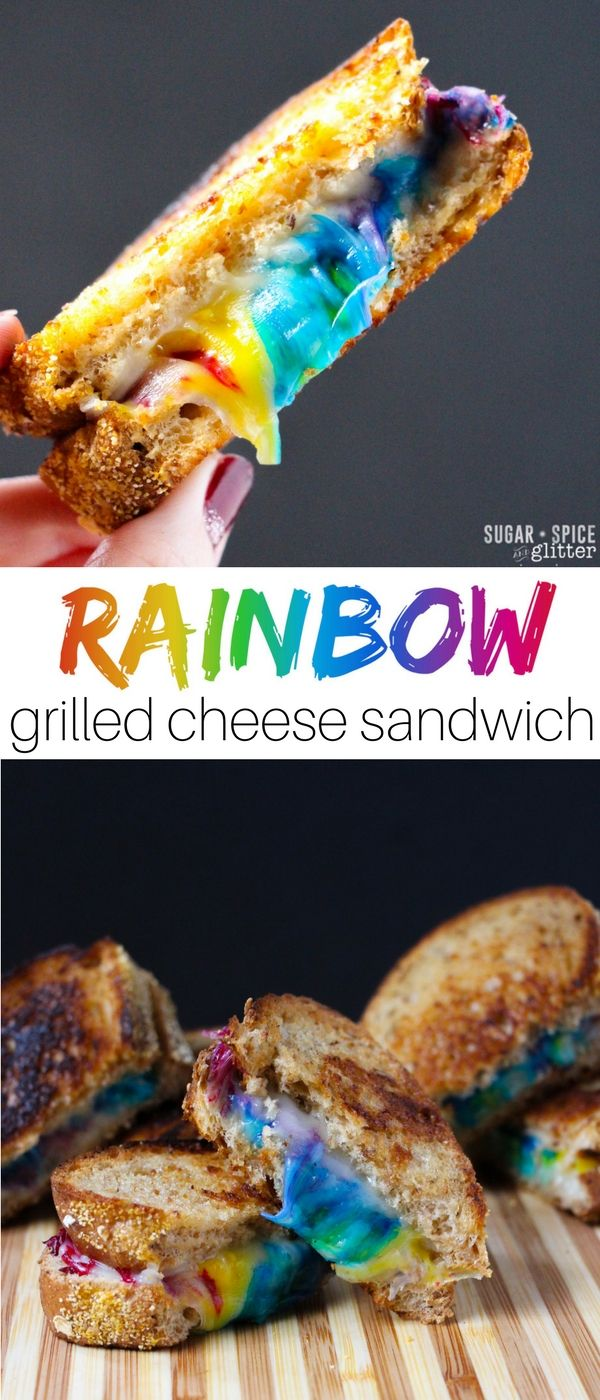 Kid-Made Rainbow Grilled Cheese Sandwich (not food-coloring!)