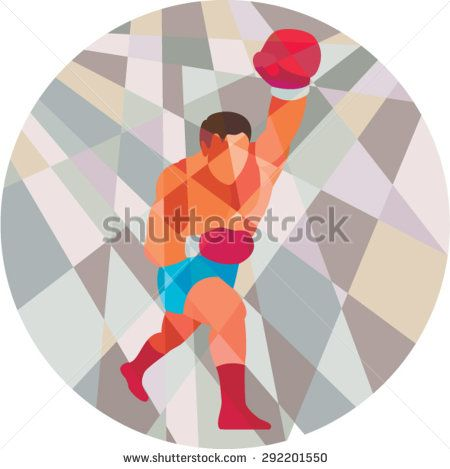 Low polygon style illustration of a boxer boxing jabbing punching viewed from front set inside circle .