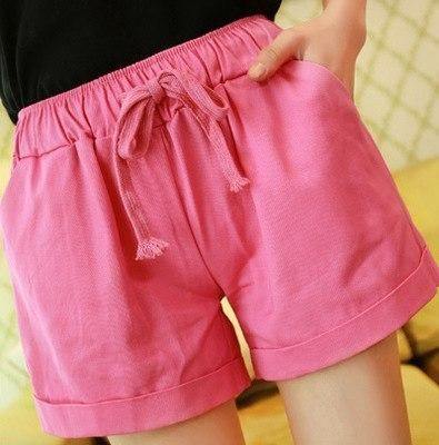 Summer Casual Solid Cotton Shorts Preppy Candy Colors High Waist Loose Beach Shorts Streetwear Pants Rosered One Size