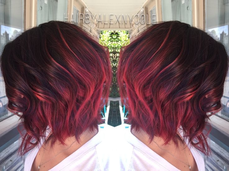 Ruby red ombre on short hair