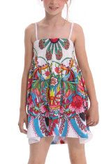 Desigual Tulip dress at Kooky Kids, smocked top and bubble skirt bottom in all-over funky floral print.
