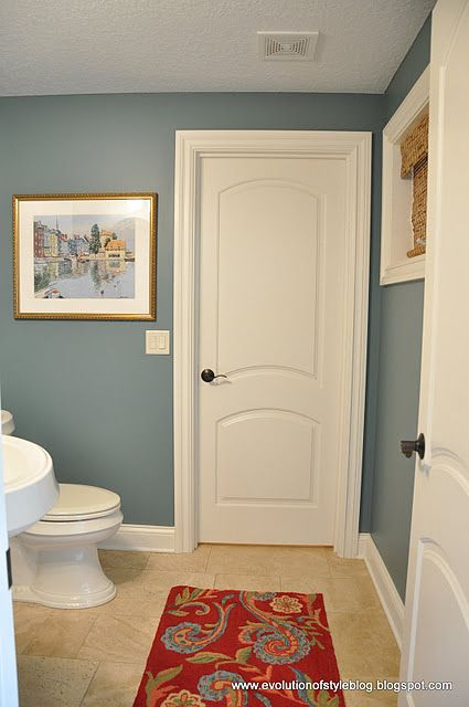 benjamin moore mountain laurel blue bathroom paint color. Love this color. Especially with the floor