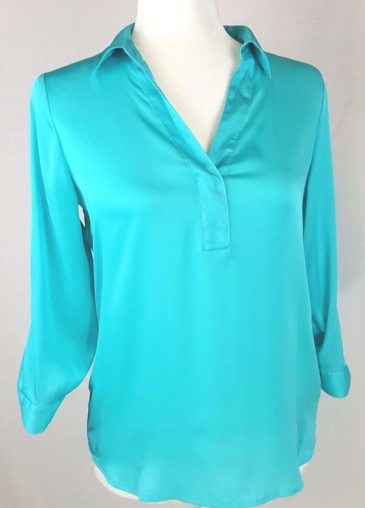 The Limited Womens Top Size Small Petite Blouse Teal V Neck 3/4 Adjust Sleeve #TheLimited #Blouse #Casual