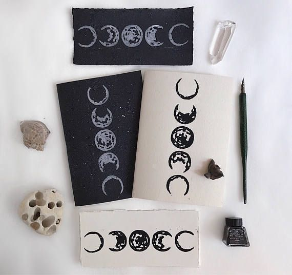 Moon phases notebook/ Pack of 2 notebooks/ Star notebook/ Moon