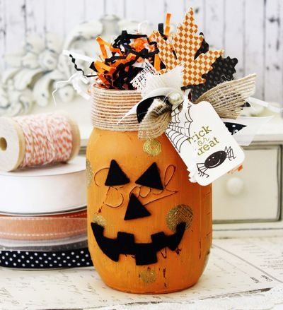 mason jar stamping...I'd probably do this as a fall jar without the pumpkin face or halloween tag