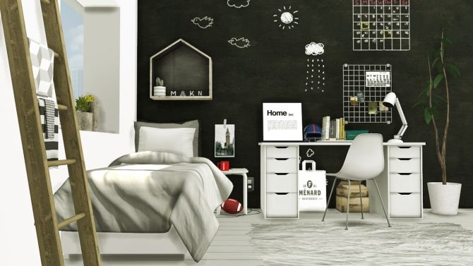 Sims 4 Updates: MXIMS - Furniture, Bedroom, Kidsroom : Scandinavian-Style Boys Room, Custom Content Download!