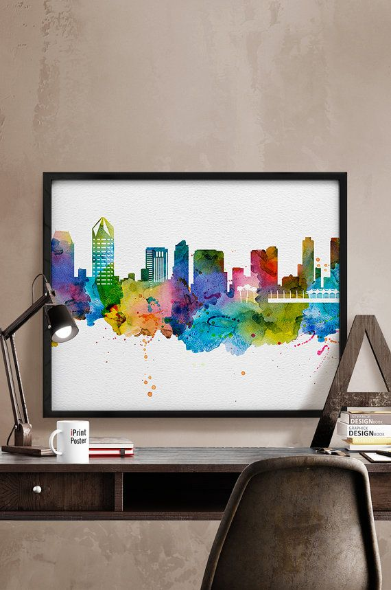 San Diego print San Diego skyline print San Diego by iPrintPoster