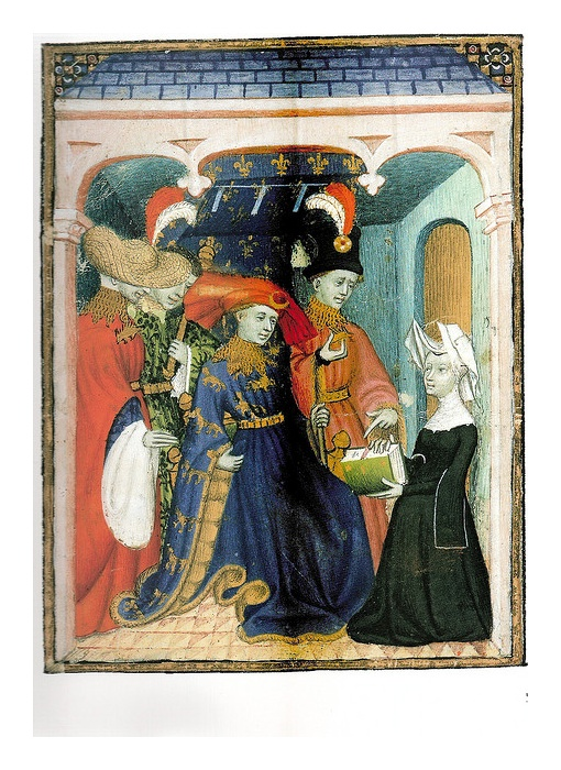 Louis of Orleans receiving a book from Catherine de Pisan c. 1415 by medievalarchive, via Flickr  (Embroidered Houpe for R)