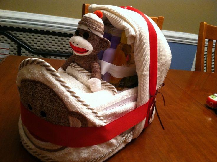Sock Monkey Baby Shower Decorations   Sock monkey Diaper bassinet   baby shower planning ideas