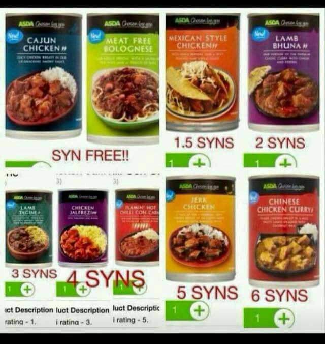 Free / low syn Asda tins