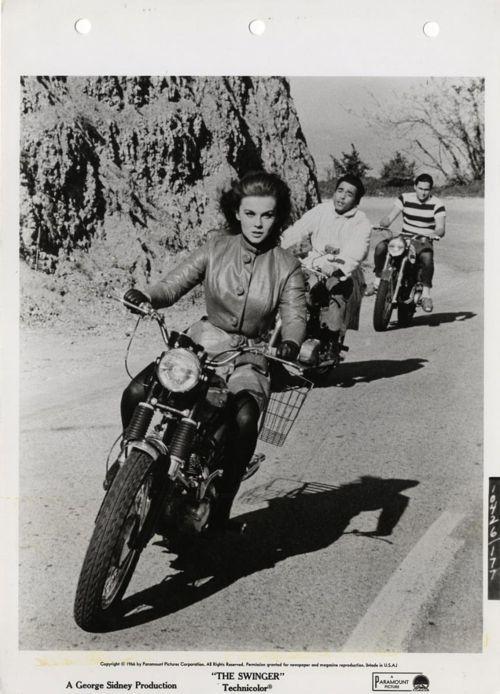 "Ann Margret! Riding a Triumph in ""The Swinger,"" ca. 1967. - Google Search"