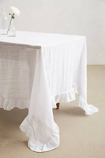 Farmhouse Tablecloth with ruffles from Anthropologie
