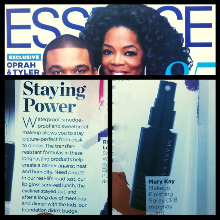 Give your look staying power! Essence Magazine recommends spritzing on Mary Kay® Makeup Finishing Spray by Skindinävia® to keep your summer beauty look lasting.