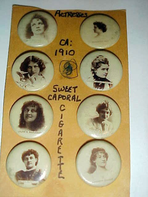 8 PIN BACK BUTTONS SWEET CAPORAL CIGARETTES SILENT MOIVE ACTRESSES CA 1910