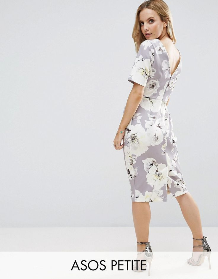 Buy it now. ASOS PETITE Smart Dress with V Back in Grey Floral Print - Grey. Petite dress by ASOS PETITE, Smooth fabric, Contains stretch for comfort, Floral print, Kick split, Zip-back fastening, Slim fit - cut close to the body, Machine wash, 94% Polyester, 6% Elastane, Our model wears a UK 8/EU 36/US 4 and is 163cm/5'4 tall. ABOUT ASOS PETITE 5�3�/1.60m and under? The London-based design team behind ASOS PETITE take all your fashion faves and cut them down to size. Say goodbye to all y...