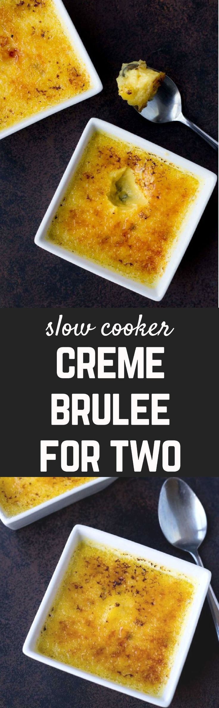 This easy Crème Brûlée really is the easiest -- made in the slow cooker so it's nearly hands-off! Best part? It makes only two - built in portion control! Get the easy dessert recipe on http://RachelCooks.com!