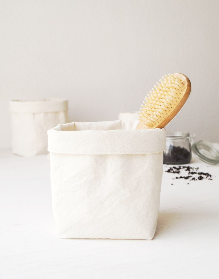 Bathroom storage basket. Storage bin. Off-white fabric container. Prewashed cotton canvas. Nursery hamper. Kitchen decor Jewelry organizer by DesignByRube on Etsy https://www.etsy.com/listing/269986110/bathroom-storage-basket-storage-bin-off