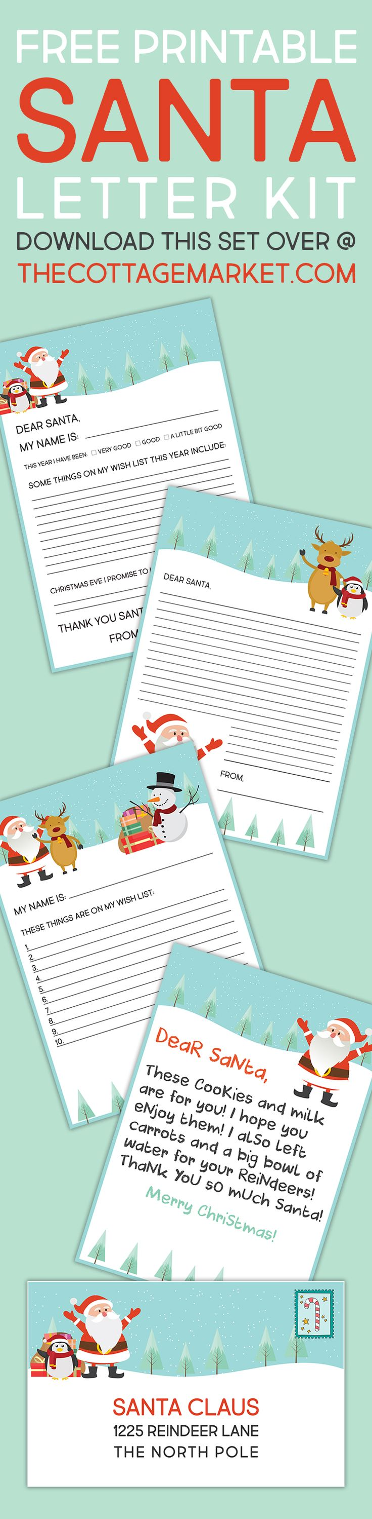 He's making a list, checking it twice; gonna find out who's naughty or nice.  Santa Claus is coming to town.  So in celebration of Santa's arrival we have a fun and frosty Free Printable SANTA Letter Kit you the special little ones in your life.  It's a five piece set, 2 different letters, a wish …