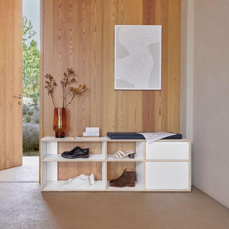 حامل تخصيص الحذاء في الخشب الرقائقي الأبيض مصمم الحديث على غرار الدول الاسكندنافية Boho Living Room Design Retro Wallpaper