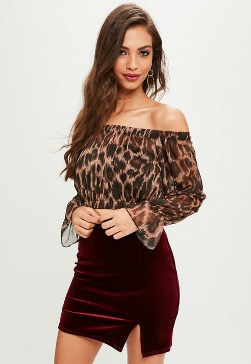 Missguided Brown Leopard Print Mesh Bardot Crop Top