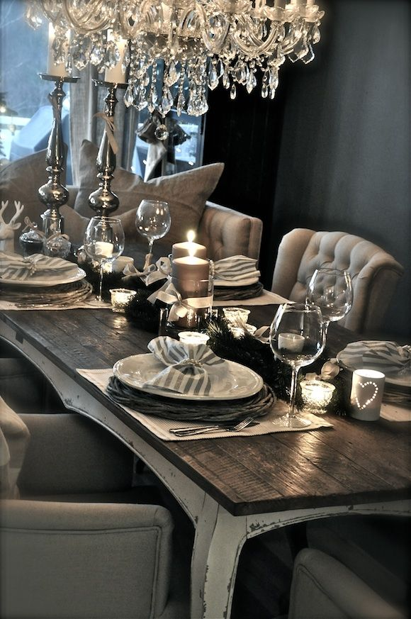Grey and silver tablescape.. and that chandelier!!!! This is Beautiful!