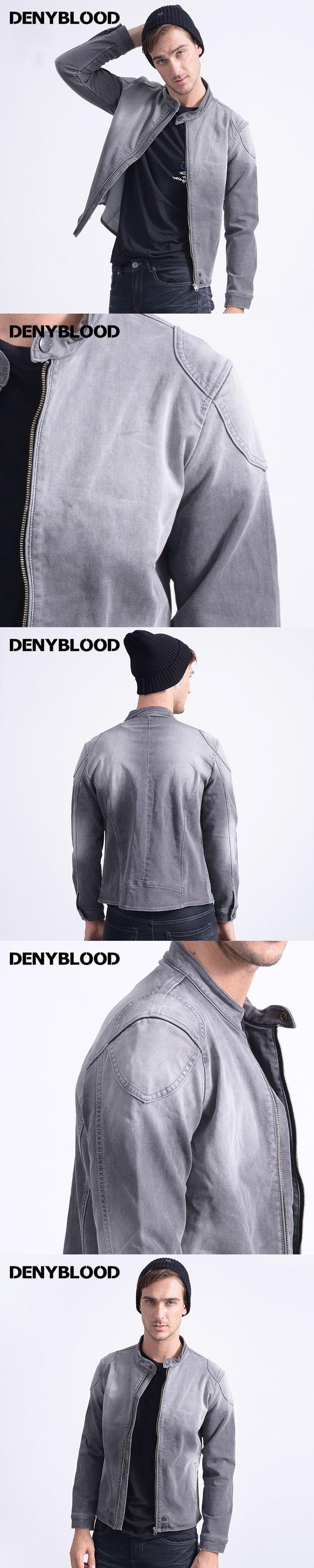 Denyblood Jeans Mens Knitte Denim Jackets Bleached Darked Wash Grey Jeans Jacket 2017 New Design Men Jackets Coat Europeans 1080