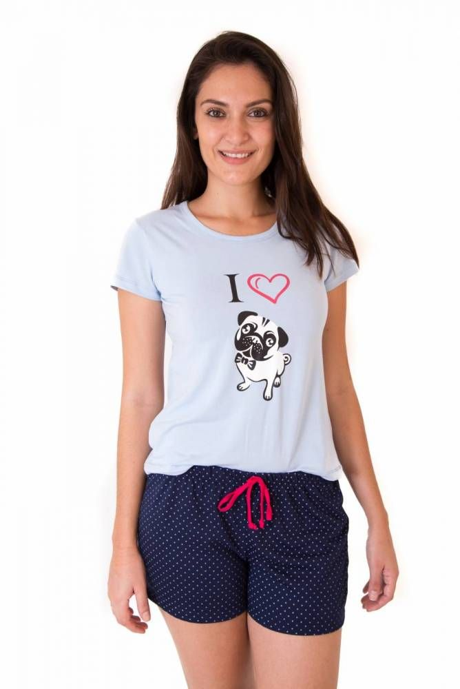 972ab4d4f Pijama Short Doll Feminino Adulto Curto com Shorts- I Love Pug ...