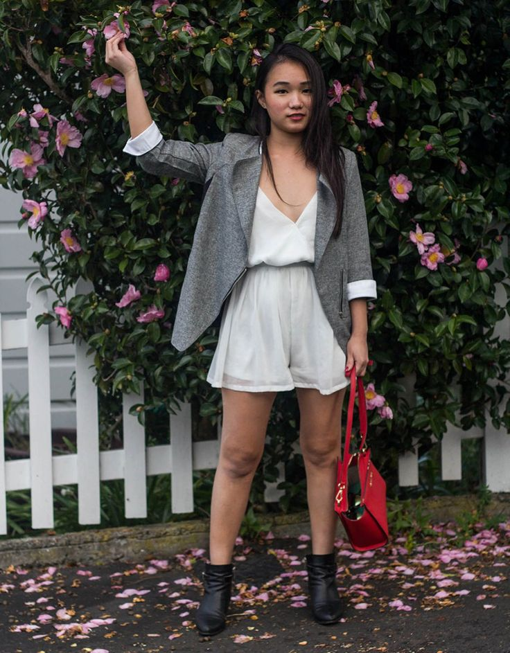 Blazer+White Jump-Suit Outfit of the day fashion streetstyle