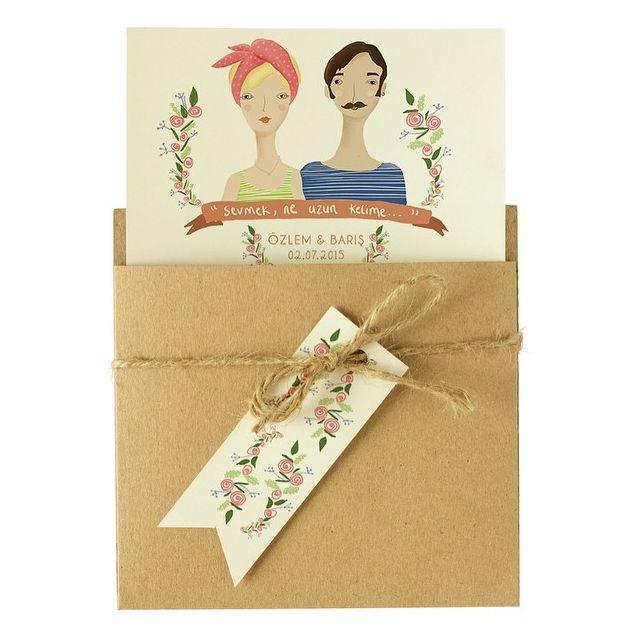 #wedding #weddingcard #invitation #card #evlilik #düğün #illustration #illustrasyon #love #happy #kraft #craft