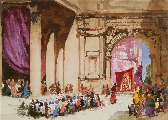 Blamire Young - The Banquet, Watercolour on paper