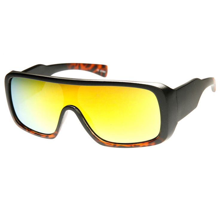 Rectangle Mono Flash Mirror Shield Lens Action Sports Sunglasses