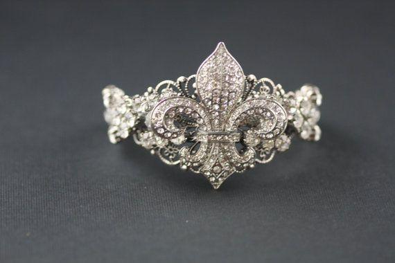 Fluer De Lis crystal bridal bangle by simplychic93 on Etsy, $78.00
