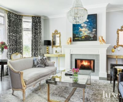 The Designer Paired The Living Roomu0027s Frothy Antique Louis XV Sofa With A  New Mirrored Coffee