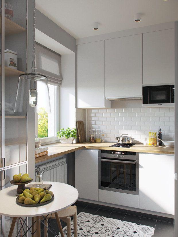В этой квартире потолки меньше 3 метров, но высота кухни использована по максимуму. Если бы она была выше на полметра, это позволило бы разместить лишний ряд навесных шкафов