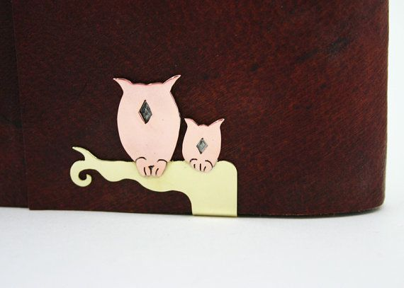 Notebook Cover Clip Owls on Branch  personalized by SandersWeyden