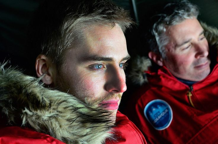 North Pole expedition members James Greenly and Matthew Deeprose inside their tent.