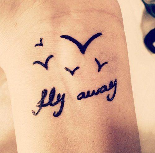 fly away tattoo.  <3