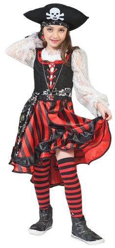 Mit diesem Seeräuberin Kostüm verwandelt sich Ihre kleine Prinzessin in eine richtige Piratenbraut zu Karneval, Mottoparty oder Theaterauftritt!! Mit ihrer Piraten Crew hat die kleine Peppina schon viele Abenteuer erlebt und schon zahlreiche Goldschätze entdeckt und ausgegraben! Aber sie ist immer noch auf der Hut! Schließlich könnten andere böse Piraten wie Blackbeard oder Stiefelriemen-Bill ihr ihre Beute streitig machen! Also am Besten wieder schnell in See stechen!