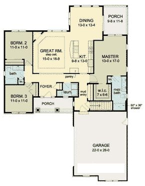 Mom's Dream First Floor Plan of Ranch   House Plan 54106
