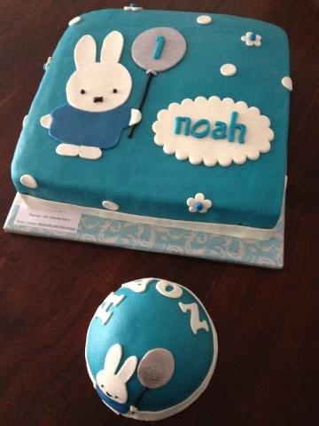 Verjaardagstaart met meptaartje Noah
