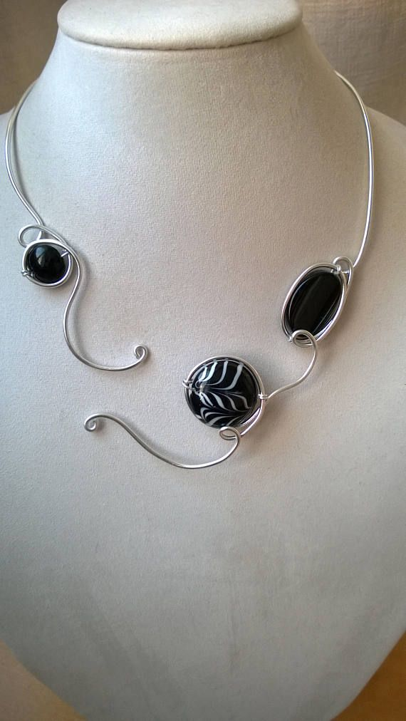 Black necklace black jewelry open necklace modern necklace