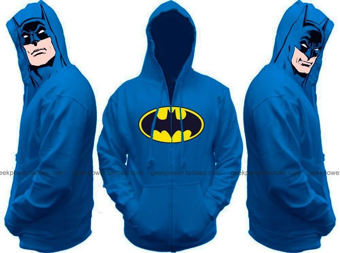 Blue Batman hoodie sweatshirts thick warm winter marvel DC geek biology tv drama movie chic clever smart new sexy cool  2014 new US $40.00