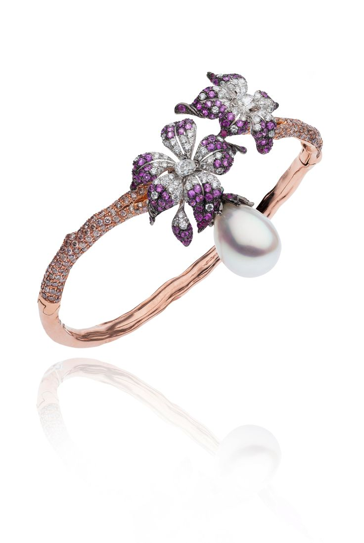 Autore curly pinks cuff rose and white gold set with diamonds rubies and a south sea pearl